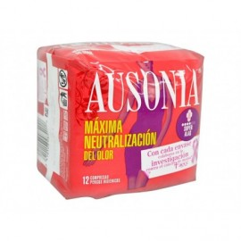 Serviettes hygiéniques Super avec ailes Ausonia Pack 12 unités