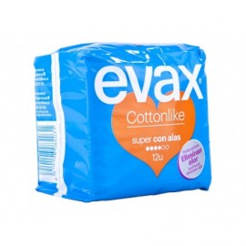 Evax Cottonlike Super sanitary napkins with wings Bag 12 units