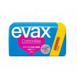 Evax Compresas Cottonlike Normal con Alas Paquete 32ud