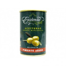 Excelencia Tin 300g Manzanilla olives stuffed with roasted peppers