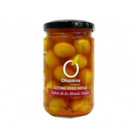 Olispania 300g glass jar Split green olives Grandma Maria flavor