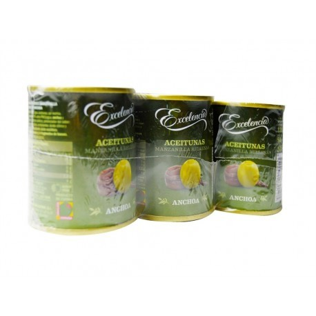 Excelencia Pack 3x120g Manzanilla olives stuffed with anchovies