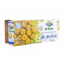 El Faro Olive Manzanilla Fine ripiene di acciughe Pack 3x50g