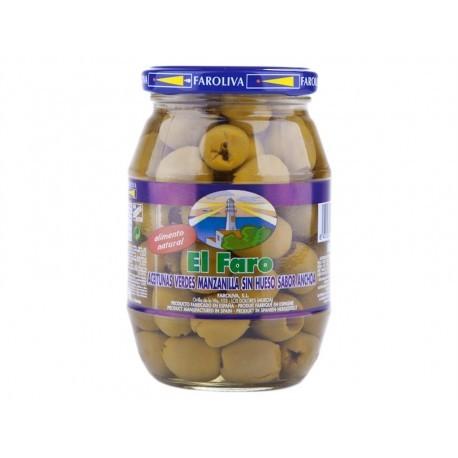 El Faro 160g glass jar Pitted Manzanilla Olives Anchovy Flavor