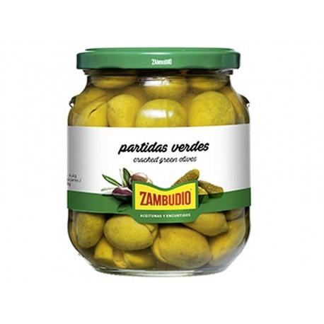 Zambudio Aceitunas Partidas Verdes Chupadeo Tarro 350g