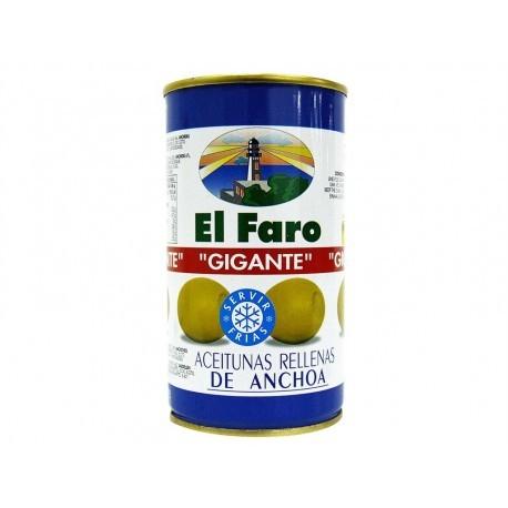 El Faro Aceitunas Gigantes Rellenas de Anchoa Lata 350g