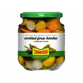 Zambudio 350g glass jar Olives cocktail with fine herbs