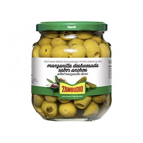 Zambudio 350g glass jar Pitted Green Olives Manzanilla Anchovy