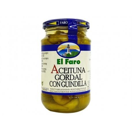 El Faro 350g glass jar Olive Gordal with chili