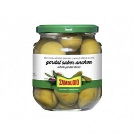 Zambudio 350g glass jar Gordal olives with anchovies
