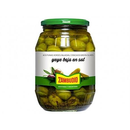 Zambudio 600g glass jar Low Salt Green Yeye Olives