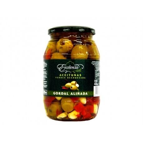 Excelencia 600g glass jar Seasoned Pitted Gordal Green Olives