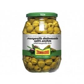 Zambudio Olives vertes Manzanilla Saveur d'anchois Pot en verre 600g