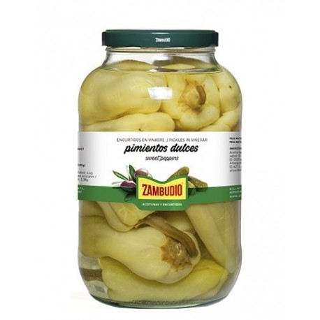 Zambudio 620g glass jar Green peppers in vinegar