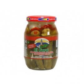 El Faro 370g glass jar Spicy banderillas with pickle