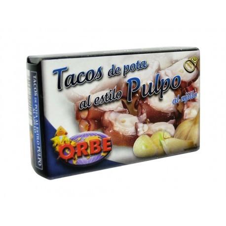 Orbe Tacos de Pota al Estilo Pulpo al Ajillo Lata 110g