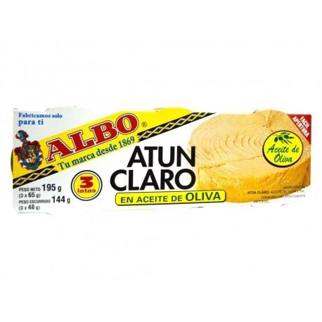 Albo Atún Claro en Aceite de Oliva Pack 3x65g Neto