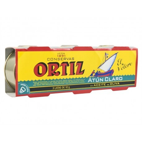 El Velero Ortiz Atún Claro en Aceite de Oliva Pack 3x92g