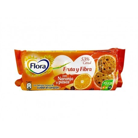 Flora 125g package Fruit and fiber cookies with orange and raisins