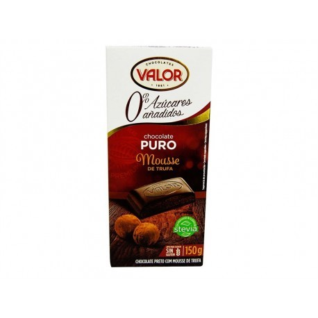 Valor Chocolate Puro Sin Azúcar Mousse Trufa Tableta 150g