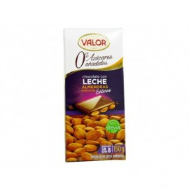 Valor 150g bar Milk chocolate and Marcona almonds without sugar