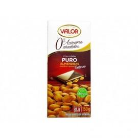 Valor 150g bar Pure chocolate without sugar Mediterranean almonds