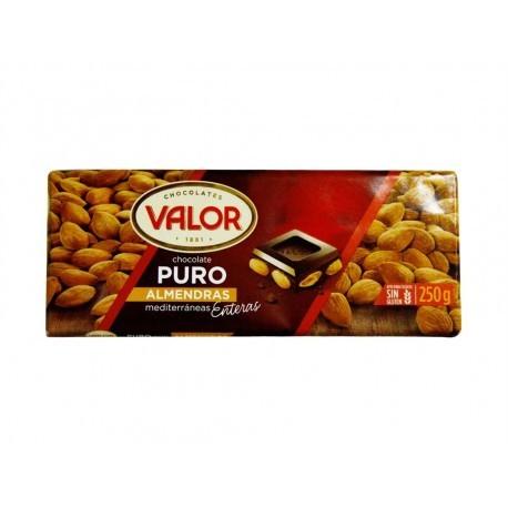 Valor Chocolate Puro con Almendras Mediterráneas Enteras Tableta 250g