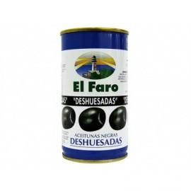 El Faro Tin 350g Pitted black olives 1st Cat.