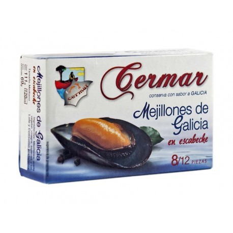 Cermar Canned 111g (8-12 units) Mussels Escabeche Sauce