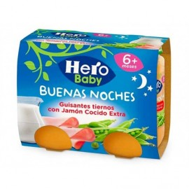 Hero Potitos de Guisantes Tiernos con Jamón Cocido Pack 2x190g