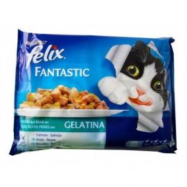 Purina One Alimento para Gatos Gelatina de Pescado Bolsa Pack 4x100g