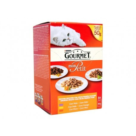 Purina Gourmet Alimento para Gatos Mon Petit Selección de Aves Pack 6x50g