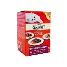 Purina Gourmet Alimento para Gatos Mon Petit Selección de Carnes Pack 6x50g