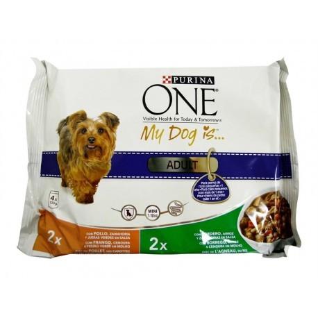 Purina One Alimento de Pollo y Cordero para Perros Adultos Bolsa 100g