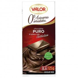 Chocolate Valor Sin azucar Puro 125 Grs