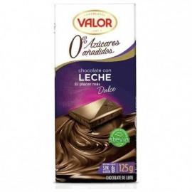 Chocolate Valor Sin azucar Puro Leche 125 Grs
