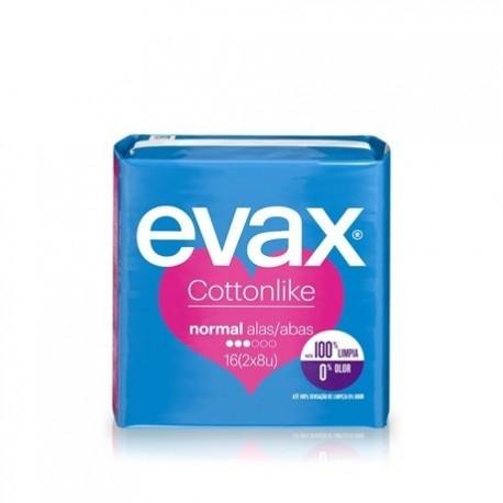 Compresas femeninas Evax Cottonlike Alas 16 Unidades