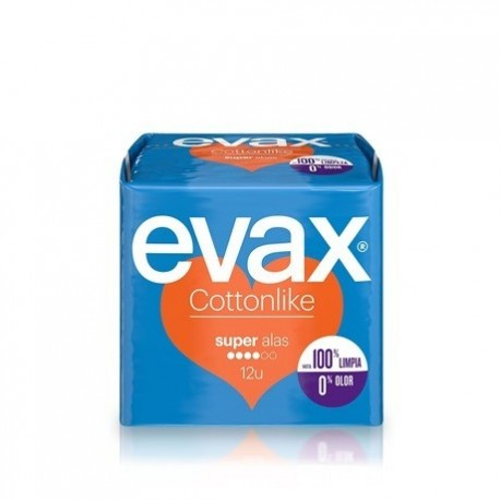 Evax Female pads like Cotton Super wings 12 Units